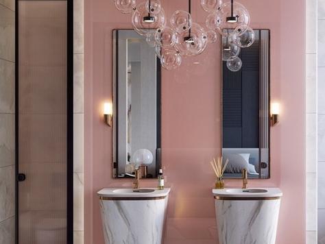 """Дизайн интерьера ванной в Омске """"Розовые стильные ванные комнаты"""""""